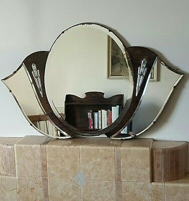 Beautiful Antique Art Deco Bevelled Wall Mirror with Chrome and Wood Detail