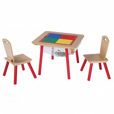 Childrens Play Table With Chairs Interchangeable Top Lego Whiteboard  Storage Bag