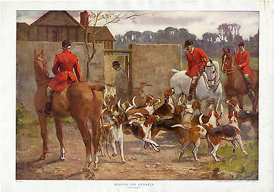 """FOXHOUND FOX HUNTING HORSE DOG ART PRINT """"Leaving the Kennels"""" by Lionel Edwards"""