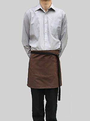 Wholesale 6 Brand New Brown Waitress Bar Waist Aprons Pocket Bistro Catering