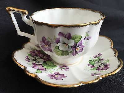 Devonshire Violets Tea Cup And Saucer - Bone China By Salisbury England