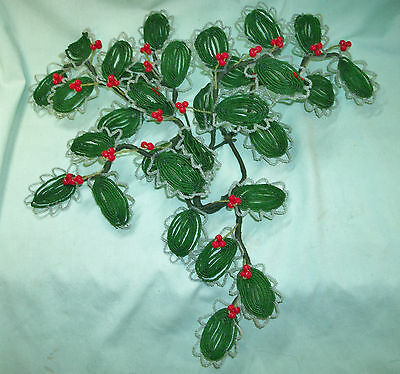 Rare! Vintage FRENCH Beaded Wired HOLLY CHRISTMAS Door SWAG Floral Decor