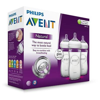 Philips AVENT Natural 8 Ounce Glass Bottle 3 Pack