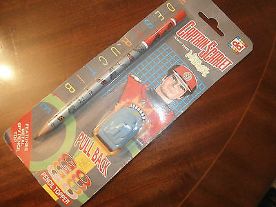 Vintage Captain Scarlet Pencil And Pencil Topper (Sealed)