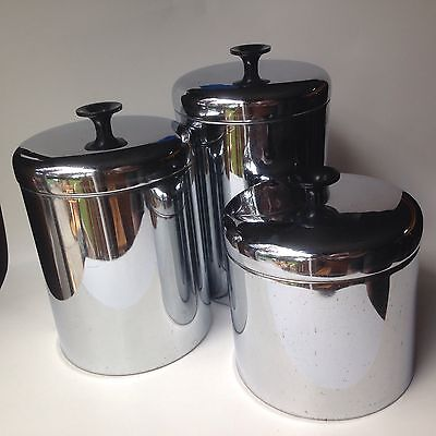Vintage Pantry Queen Set Of 3 Stainless Canisters 1950's Metal