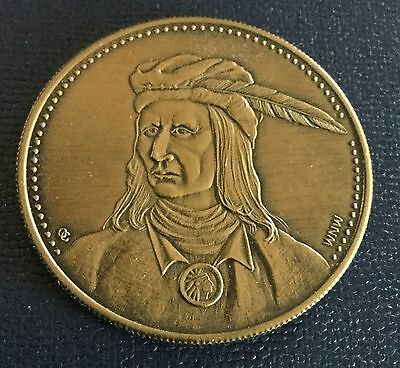 American Indian Chief Tecumseh Shawnee Tribe Coin Medal