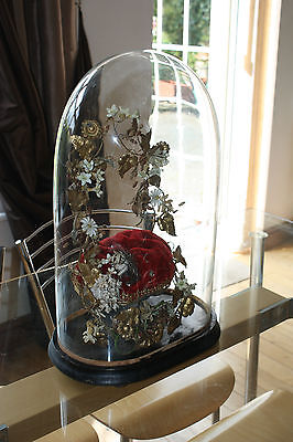 French Victorian Wedding Globe De Mariee Skeleton Clock Oval Glass Dome • £249.95