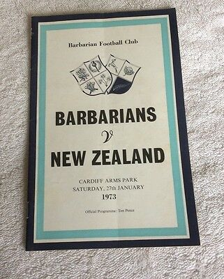 BARBARIANS v NEW ZEALAND 1973 RUGBY PROGRAMME