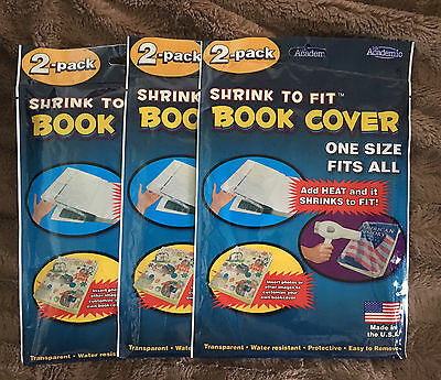 BOOK COVERS Heat Shrink 2 Fit Transparent Clear Sealed  6 Covers  It's Academic
