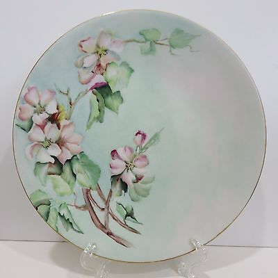 """Vintage Jean Pouyat Limoges France 9"""" Plate Hand Painted, Signed by Artist M.R."""