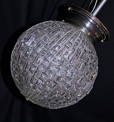 Vintage Hollywood Regency Glass Ball Globe Prism Flush Swag Chandelier fixture