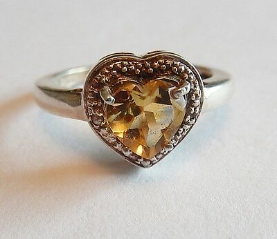 Vintage Sterling Silver Heart Shaped Citrine Ring Size 6 1/2 With One Small Diam