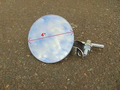 "(x1) 4"" round MIRROR for HANDLE BARS on motorcycle, scooter, swivel, bar mounted"