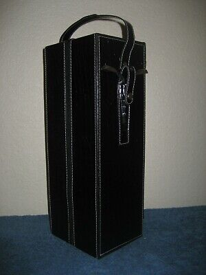 Black Leather Suede Lined Single Wine Carrying Case w/ Strap & Chrome Cork Screw