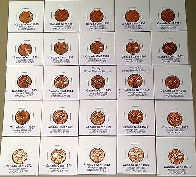 AWESOME UNC DATE RUN ~~ 1953-1996 ~~ UNCIRCULATED Penny Set - B/U ~~45 coins~~