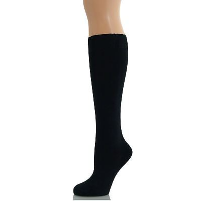 3 Black Pairs Women Ladies Girls School Knee HIgh Cotton Plain Long Socks