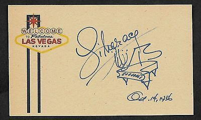 Liberace Autograph Reprint On Genuine Original Period 1950s 3x5 Card