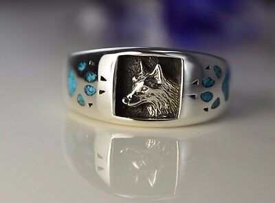 Sterling silver Navajo ring w Wolf head & Turquoise Wolf paws Size: 7 thru 13.5