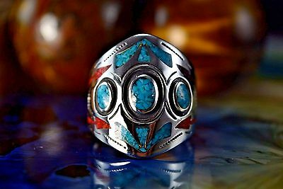 Sterling silver crushed Turquoise & dark Red Coral inlaid & stamped ring 11.5