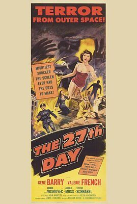 THE 27TH DAY Movie POSTER 14x36 Insert Gene Barry Valerie French George Voskovec