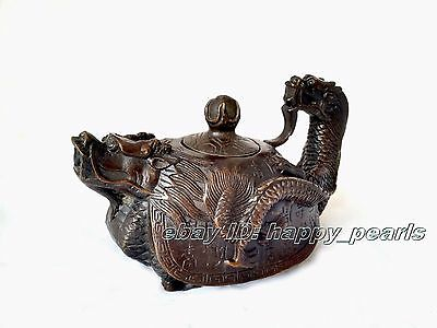 Rare Dynasty Decorated Old Tibet Bronze Carved Dragon Tortoise Tea Pot