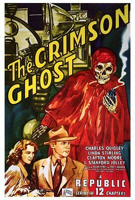 THE CRIMSON GHOST Movie POSTER 27x40 Charles Quigley Linda Stirling Clayton