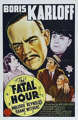 THE FATAL HOUR Movie POSTER 27x40 Boris Karloff Grant Withers Marjorie Reynolds