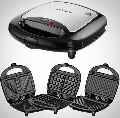 3-in-1 Sandwich Maker/ Grill / Waffle Iron Non-Stick Plates Stainless Steel New