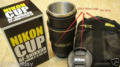 Nikon Zoomable Zoom AF-S 24-70mm f/2.8G Lens 1:1 Thermos Coffee Cup Mug with Bag