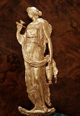 Antique Bronze Brass Ormolu Victorian Lady Furniture Decoration Onlay