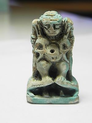 Zurqieh -Af951- Ancient Egypt - Large Faience Amulet Of Pataikos , 400 - 300 B.c