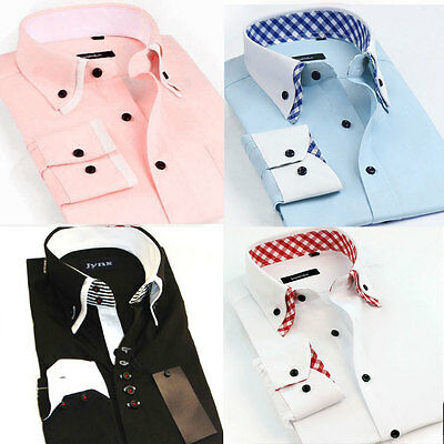 Men's Business Formal Shirts Long Sleeve Slim Fit Casual Dress Shirts Top Blouse