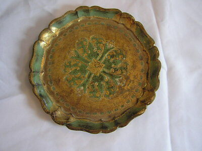 Vtg Florentine Florentia Wood Gold Gilt Toleware Decorative Tray Made in Italy