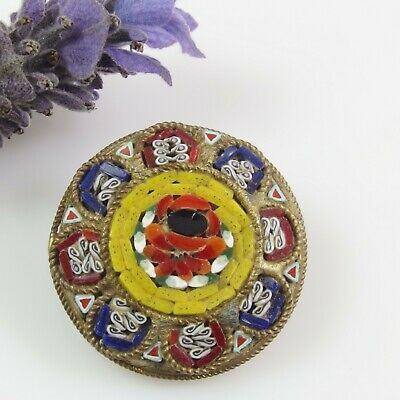 Vintage Micro Mosaic BROOCH SMALL Size Brass Tiny Glass Tiles Round