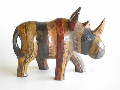 Wooden Hand Carved RUSTIC Rhino 25cm.....
