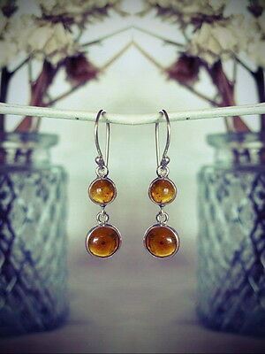 330 Amber 2 stone drop solid 925 sterling silver earrings rrp$39.95