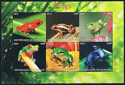Bloc Sheet Grenouilles frogs Neuf MNH ** Djibouti 2015 Private local/issue