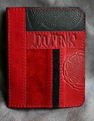 RED  Genuine LEATHER Auto Documents COVER Drivers Licence ART insert HANDMADE 73