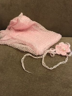 Pale Pink Swaddle Cloth And Flower Headband Newborn Baby Photography Prop