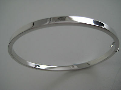 9Ct White Gold Classic 4Mm Oval Hinged Bangle Hot New Arrival