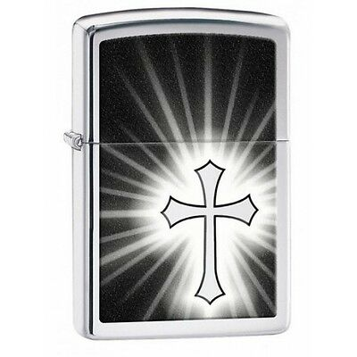 Zippo Reflective Cross High Polish Chrome Lighter Brand New