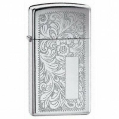 Zippo Slim Venetian High Polished Chrome Lighter Brand New