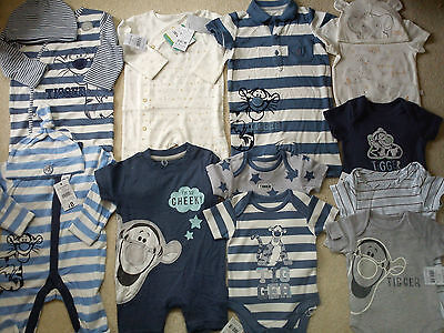 *AMAZING*44x NEW BUNDLE OUTFITS TIGER BABY BOY 0/3/6 MTHS WINTER SUMMER(3)NR1144