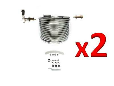 TWO - Jockey Box Kits 50-ft Stainless Steel Coils DIY Beer Draft Box Kit 2KDBX50