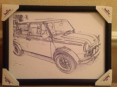 Mini Cooper Framed Black And White A4 Printed Picture
