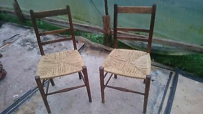 Single Chair Antique Wood with Newly Strung Seat