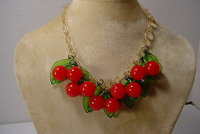 Vintage Celluloid Chain Fruit RED CHERRIES Bakelite Charm Necklace Choker YUMMY