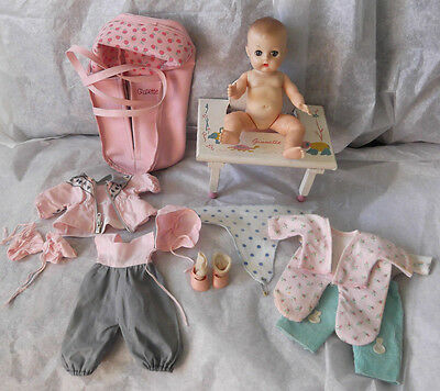 """Vintage 1950's 9"""" Vogue Ginette Vinyl Baby Doll, Clothes, Chair & Carrier"""