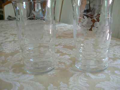 Antique/Vintage Depression Clear Glass Set of Two Frosted Etched Grapes Glasses