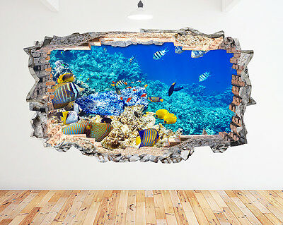 K192 Aquarium Fish Tank Water Living Room Wall Decal Poster 3D Art Stickers Viny